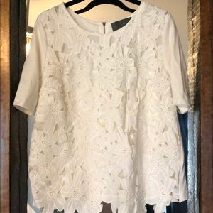 White short sleeve flower shirt. NWT